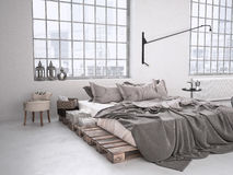 Industrial bedroom. 3d rendering Royalty Free Stock Photography