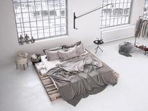 Industrial bedroom. 3d rendering Royalty Free Stock Photo