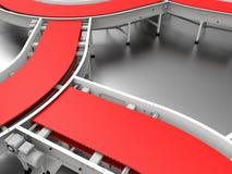 Industrial belt conveyor system on a metallic background vector illustration