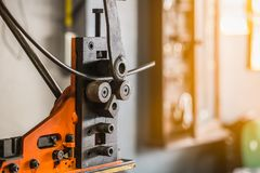 Industrial bender equipment machine for metal pipe bending. Sele. Ctive focus Stock Image