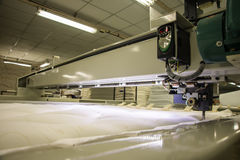 Industrial big embroidery machine on textile Royalty Free Stock Images
