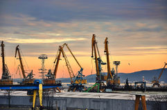 Industrial black sea port Stock Image
