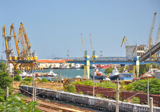 Industrial black sea port Royalty Free Stock Images