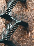 Industrial Black Steel Staircase stock photo