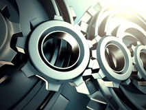 Industrial blue cogwheel gears background Royalty Free Stock Photography