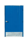 Industrial Blue Door on a White Background Stock Image