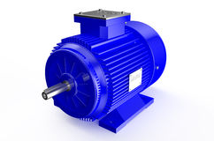 Industrial blue electric motor Stock Photo
