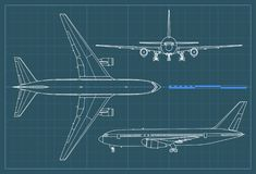 Industrial blueprint of airplane. Vector outline drawing plane on a blue background. Top, side and front view. Industrial blueprint of airplane. Vector outline Royalty Free Stock Photography