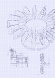 Industrial blueprint of hydraulic water turbine Stock Photography