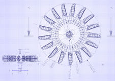 Industrial blueprint of hydraulic water turbine Royalty Free Stock Photo