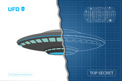 Industrial blueprint of UFO. Technical document with the drawing of alien spaceship Stock Photography