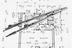 Industrial blueprints closeup Stock Photo