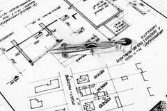 Industrial blueprints closeup Stock Images