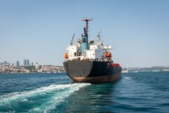 Industrial boat in Istanbul. Turkey stock photography