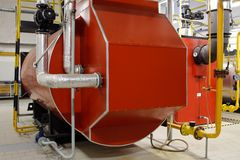Industrial boiler room with gas boilers Royalty Free Stock Images