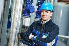 Industrial boiler worker Royalty Free Stock Photography