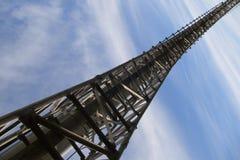Industrial bridge. Industrial pipeline bridge  under blue skies Royalty Free Stock Image