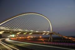 Industrial bridge in night Stock Photos