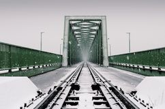 Industrial bridge in the snow. stock photography