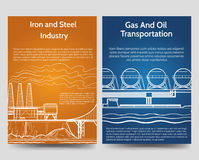 Industrial brochure flyers template. With gas oil transportation and steel and iron industry. Vector illustration Stock Images