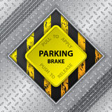 Industrial brochure with tire track and parking brake knob Royalty Free Stock Images