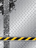 Industrial brochure with tire track and striped bar Royalty Free Stock Photography