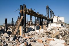 Industrial building. Old industrial building under demolition Stock Images
