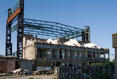 Industrial building. Old industrial building under demolition Stock Photo
