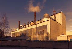 Industrial building and blue sky,sunset Royalty Free Stock Images