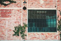 Industrial building with brick wall