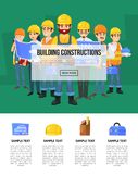 Industrial building company banner with worker. Team in safety helmets. Engineer, architect, builder, electrician and foreman characters. Professional Stock Image