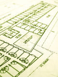 Industrial building construction project. An image of the layout blueprint plan for the construction of an industrial type building in the city.  Conceptual Stock Image