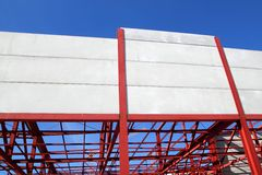 Industrial building construction steel structure. Concrete walls Royalty Free Stock Photos