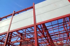 Industrial building construction steel structure. Industrial building construction with steel structure and concrete wall Stock Image