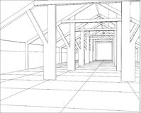 Industrial building constructions indoor. Tracing illustration of 3d.  Stock Photos