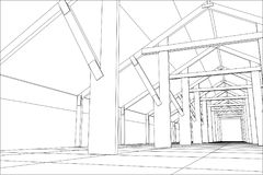 Industrial building constructions indoor. Tracing illustration of 3d.  Stock Photography