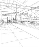 Industrial building constructions. Milk farm. Tracing illustration of 3d Stock Photography
