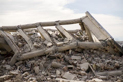 Industrial building damaged and collapsed. Stock Image