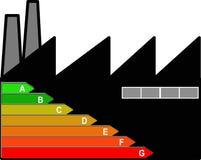 Industrial building energetic efficiency. An icon to assign the energetic efficiency category to an industrial building stock illustration