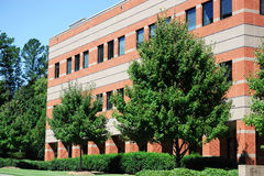 Industrial building exterior and green tree in spring Stock Images