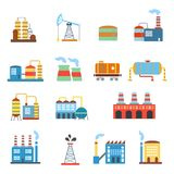 Industrial building factories and plants icons set Royalty Free Stock Photography