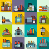 Industrial building factory flat icons Stock Image