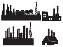 Industrial building factory icon set Royalty Free Stock Photography