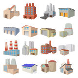 Industrial building factory icons Stock Image