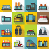 Industrial building factory icons set, flat style. Industrial building factory icons set. Flat illustration of 16 industrial building factory vector icons for Vector Illustration