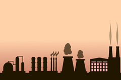 Industrial building factory. And power plants icon set Royalty Free Stock Images