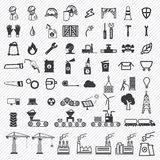 Industrial building factory and power plants icons set Stock Photo