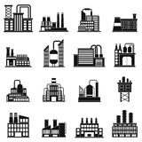 Industrial building factory simple icons Stock Image