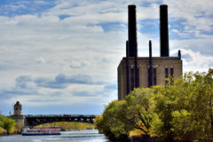 Industrial building with funnel beside Chicago River. Industrial building beside Chicago River. Photo taken in October 6th, 2014 Stock Images