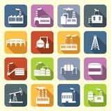 Industrial Building Icons Flat Royalty Free Stock Photography
